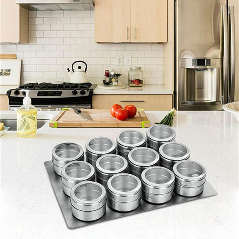 9 pcs / 12 pcs Seasoning Boxes Magnetic Dustproof Visible Stainless Steel Spice Can Seasoning Pot Outdoor Barbecue Cruet-in Other Herb & Spice Tools from Home & Garden on AliExpress - 11.11_Double 11_Singles' Day 1