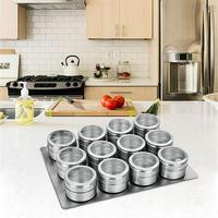 9 pcs / 12 pcs Seasoning Boxes Magnetic Dustproof Visible Stainless Steel Spice Can Seasoning Pot Outdoor Barbecue Cruet