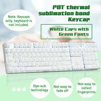 LEORY Keycap Magicforce 108 Key White Color Green Fonts Dye sub PBT Keycaps Set for Mechanical Keyboard Keycap