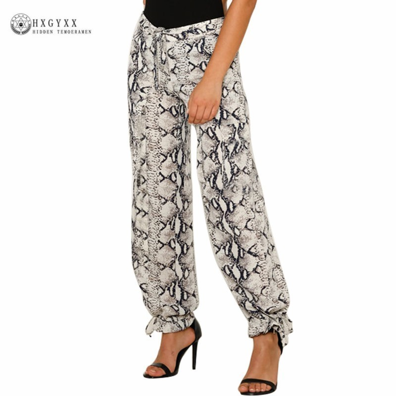 Sexy Animal Print   Pants   High Waist Sashes Satin Long Women Wide Leg   Pant     Capris   Summer Fashion Female Trousers 2019 Okd847