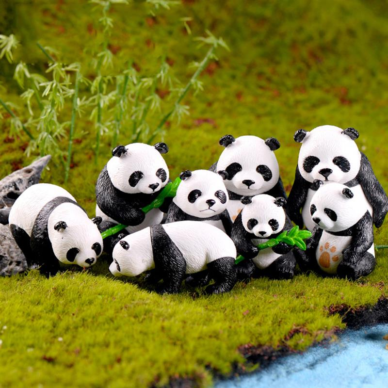 Panda-Figurine Slime-Decoration Charms Statue Miniature Garden Resin Diy-Craft Cute 4pcs/Lot