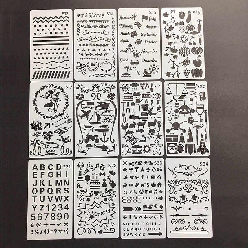 Каваи цветы геометрические стены трафарет детская живопись Декор буквы трафарет животных для альбомов штамп для ежедневника для поделок, скрапбукинга