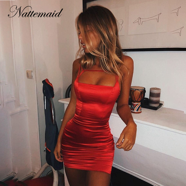 7cb61270508 NATTEMAID Solid Color Black Red Summer Dress Women Clubwear Mini Sexy Dresses  Strapless Backless Bandage Bodycon Dress Vestidos