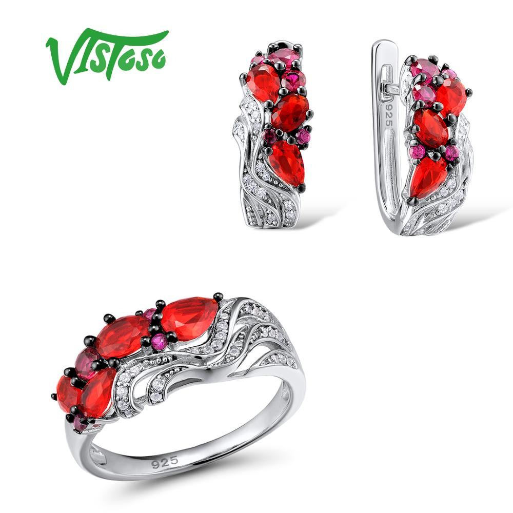 VISTOSO Jewelry Sets For Woman Created Ruby Red Crystal Stones Jewelry Set Earrings Ring 925 Sterling