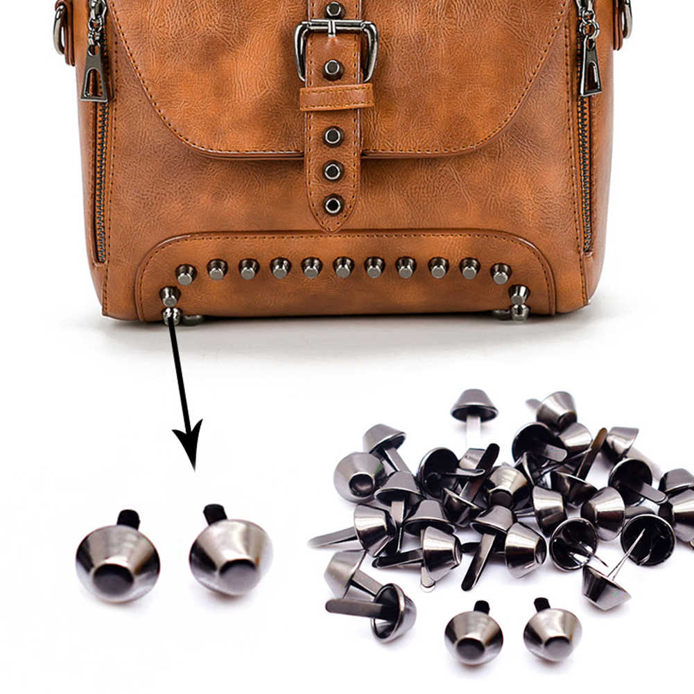 100pcs 12mm Metal Crafts Purse Feet Rivets Studs Pierced for Purse Handbag Punk Rock Rivets Bag Leather DIY Accessories