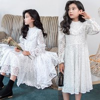 Lace Toddler Girl Party Dresses Long Sleeve White Teenage Kids Dresses For Girls Wedding Spring Autumn 2019 Children Clothing