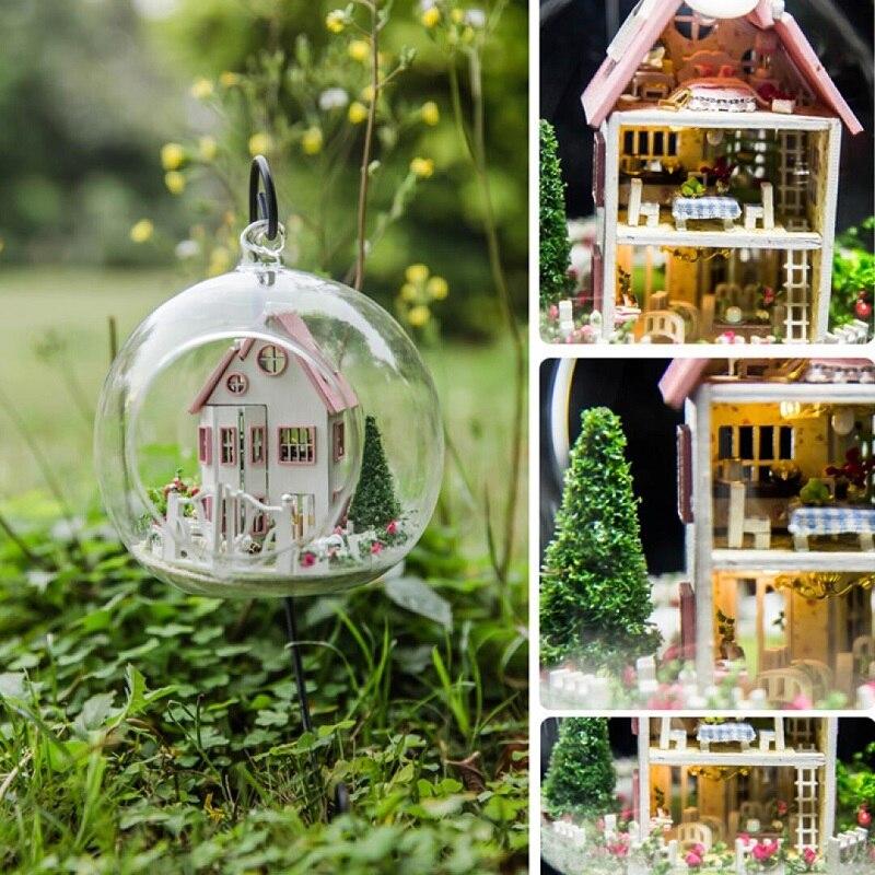 DIY Rila Castle Glass Ball Dollhouse G012 Handmade Wooden Assembling Micro Landscape Miniatura Furniture LED Light Gift Doll 2
