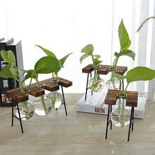 Vintage Creative Bench Hydroponic Vase Glass Bottle Plant Wooden Stand Terrarium Container Tabletop Decor Home Garden
