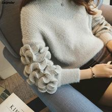 Cute Candy Color 3D Ruffles Mohair Sweater O-Neck Long Sleeve Elegant Knit Bottoming Pullover Cropped Tops 2018