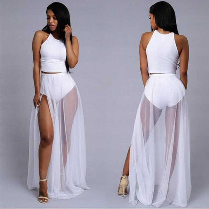 09a88021cfb4 ... Women Mesh Sheer Long Beach Cover Up Skirt Sexy See-Through Chiffon Maxi  Skirts Bikini ...