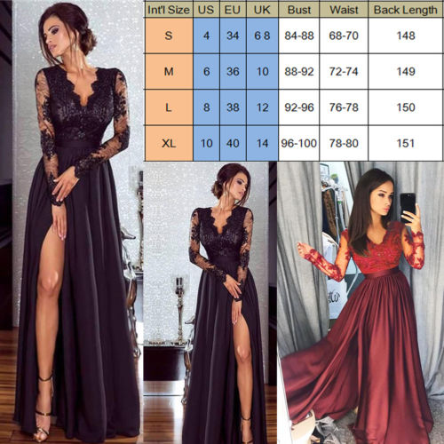 2019 Women Lace Evening Party Ball Prom Gown Formal CLUB Wear Deep V Neck Long Dress 1