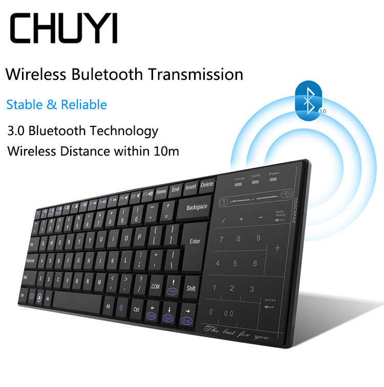 CHUYI Bluetooth Wireless Keyboard Ultra Thin Computer Touchpad Mini Keypad For Macbook Android Phone Tablet Computer [avatto] thin 2 4ghz usb wireless mini keyboard with number touchpad numeric keypad for android windows tablet desktop laptop pc