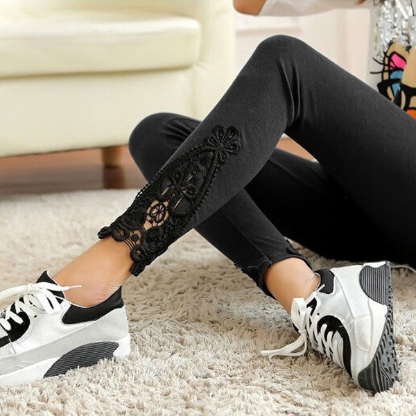 2019 Fashion Womens Casual Leggings Lace Patchwork High Waist Fitness Sports Gym Exercise Running Jogging Pants
