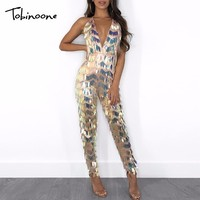 Tobinoone 2018 Backless Sexy Sequin Jumpsuit Women Halter Sleeveless Rompers Women Long Jumpsuit Sequined Club Party Overalls