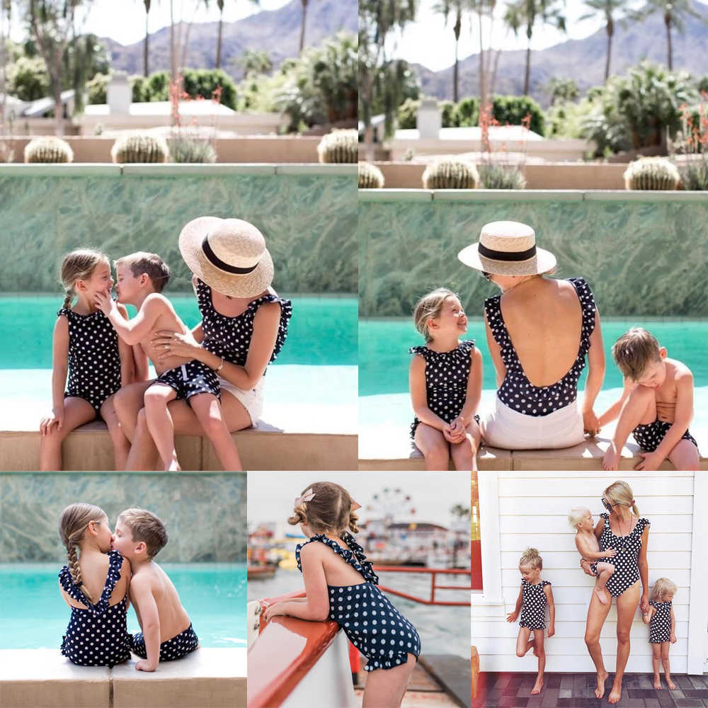 d4d1456a77 Family Matching Bikini Mother Daughter Son Swimwear 2019 Summer Women Baby  Boy Girl One-piece