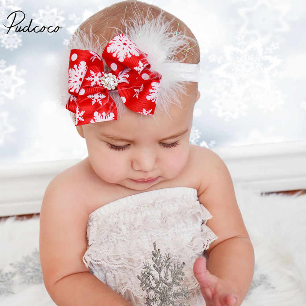 2018 Brand New Christmas Infant Kids Baby Girls Boys Santa Headband Feather Braid Headband Bow Hair Band Accessories Baby Gifts