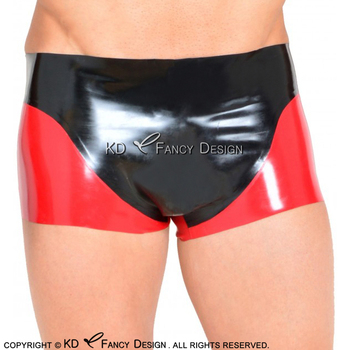 Red With Black Sexy Latex Boxer Shorts With Black Trims At Front Underwear Rubber Boy Shorts Bottoms DK-0173