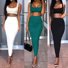 2Pcs Set Women Crop Tops And Skirt Matching Two Pieces Sexy Beach Short Tops+Bodycon Skinny Tracksuits Suits