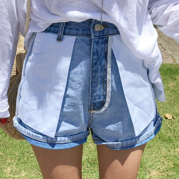 New High waist   jeans   shorts 2019 stitching blue   jeans   European American sexy beach hot short
