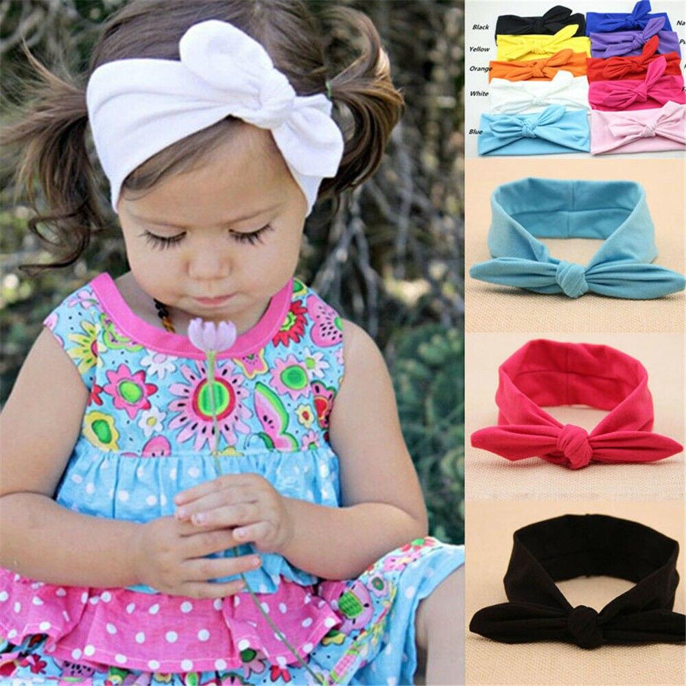 Милый детский ободок, повязка на голову с бантом для маленьких девочек, повязка на голову чалма, узел кролика, красный, желтый, синий, черный, ...