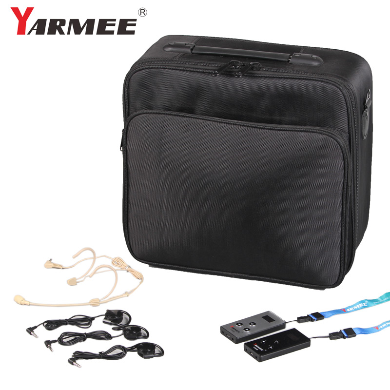 YARMEE VHF Frequency Portable Transportation Whisper Tour Guide System Audio Radio Guide System With Carrying Case YT200