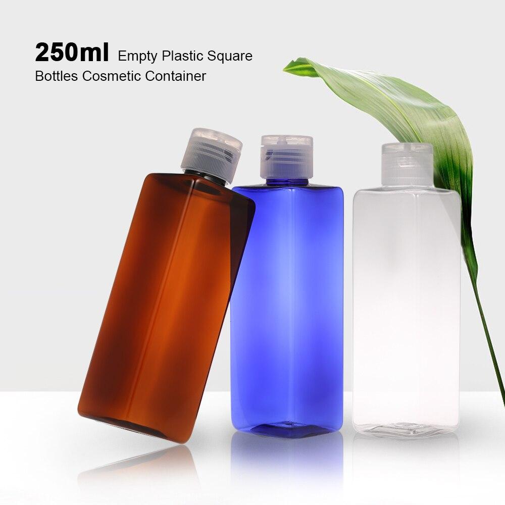 250ml Empty Plastic Square Bottles Refillable Bottle With Flip Cap For Shampoo Lotion Cream Liquid Cosmetic Bottle