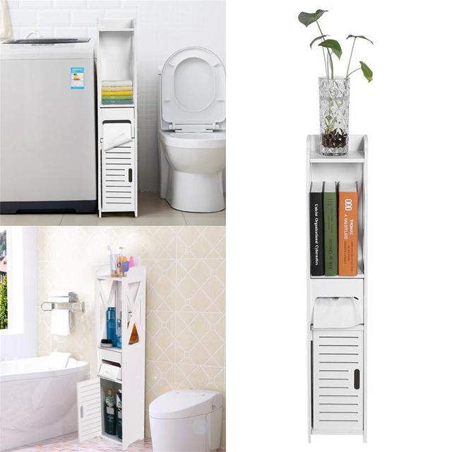 Bathroom Cabinet 80X15.5X15.5CM Bathroom Toilet Furniture Cabinet White Wood-Plastic Board Cupboard Shelf Tissue Storage Rack 3