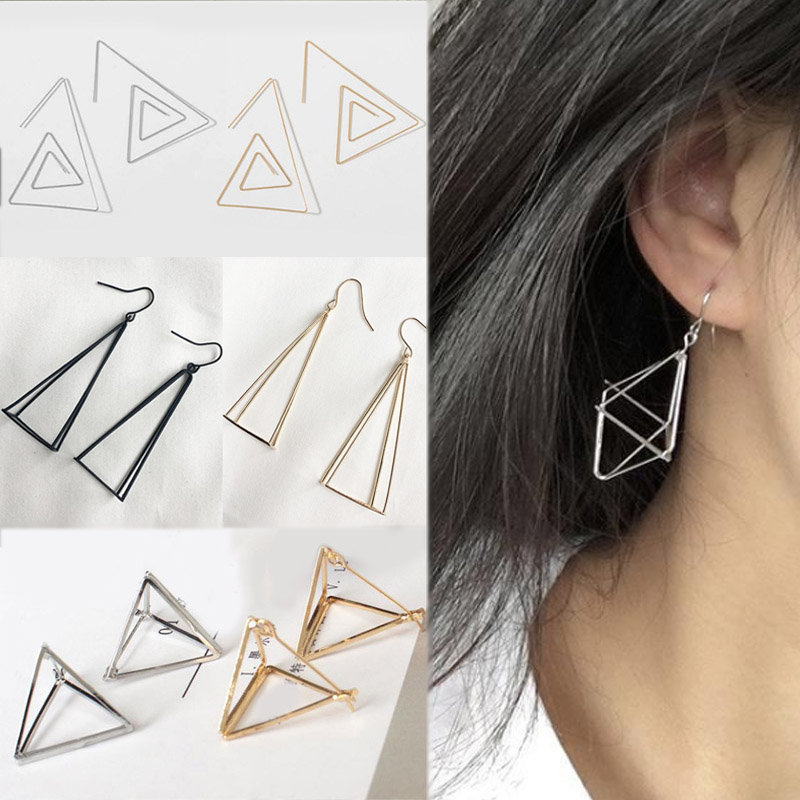 Drop Earring Geometric Silver Seaside Black Girls Punk Pyramid Golden Women Hollow Polygon 3D Triangle Valentines Gift 1Pair