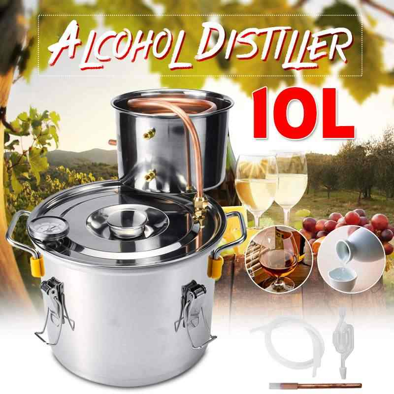 10L Stainless Steel Copper Ethanol Alcohol Distiller Moonshine Distillation Boiler Wine Beer Home Brewing Tool Bar Set