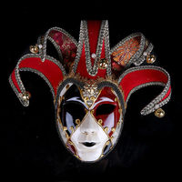 Men Women Full Face Venetian Fabric Embroidery Masquerade Theater Jester Masks Party Ball Consume
