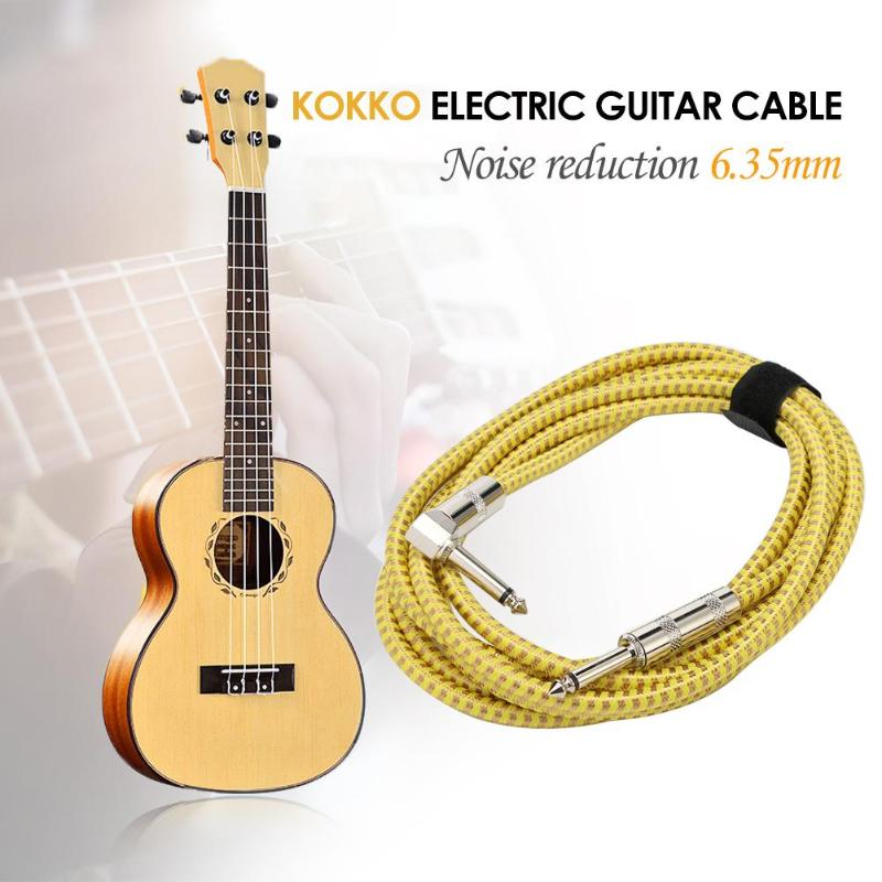 KOKKO Electronic Guitar Cable Guitar Bass Line Connecting Line Noise Reduction 6.35mm Musical Instrument Yellow image