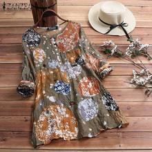 Women's Blouse 2019 ZANZEA Summer Floral Printed Long Sleeve Shirt Oversize Tunic Top Female Vintage Blusas Robe Plus Size