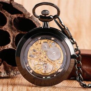 Image 2 - Relógio de bolso de luxo preto retro com corrente de bolso 30 cm esqueleto mecânico mão enrolamento relógio de bolso reloj de bolsillo