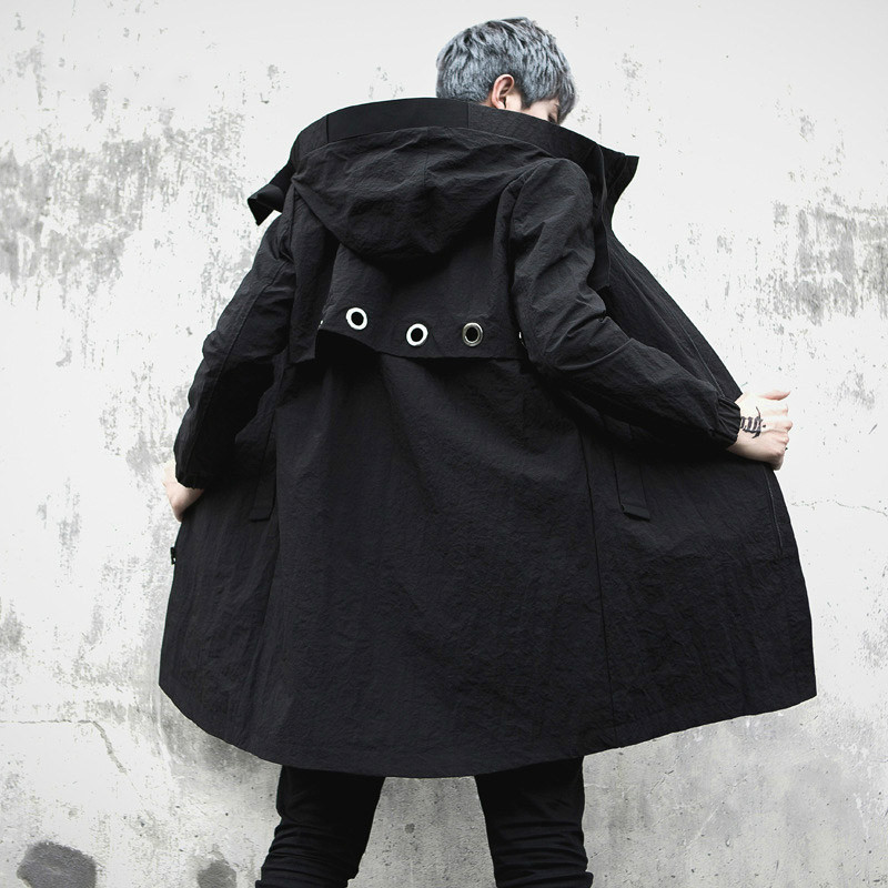 Trench coat with men's, fashion casual high hip trenchcoat for men, raincoat, spring Autumn, long coat for M XL