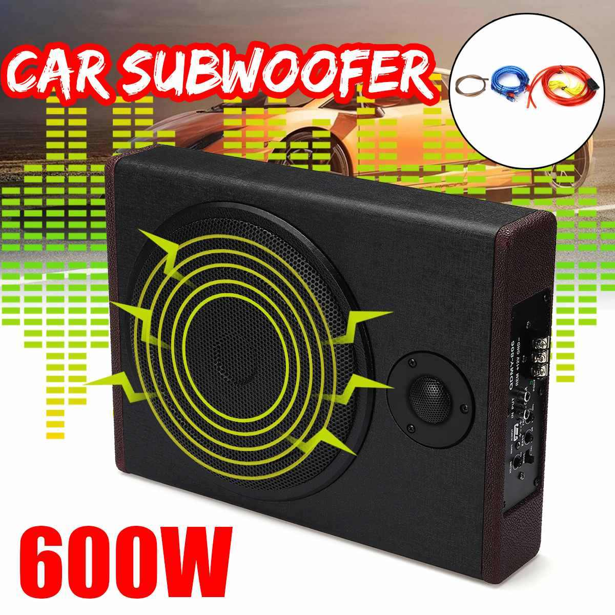 10 inch 600W Car Active Amplified Under Seat Powered Subwoofer Bass Speaker Home Audio Stereo Amplifier Lound Speakers