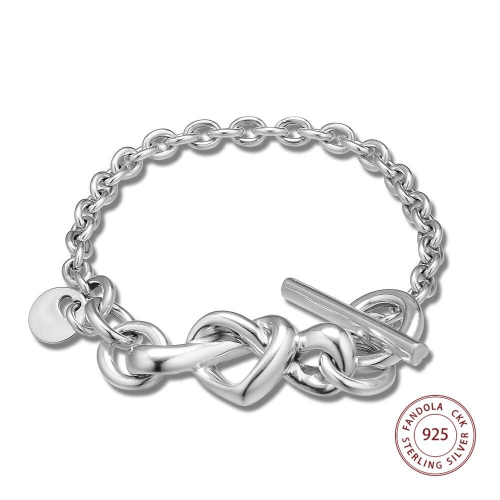 Knotted Heart Bracelet Argent 925 Sterling Silver Femme Charm Bracelets Bangles for Women Original Jewelry pulseras