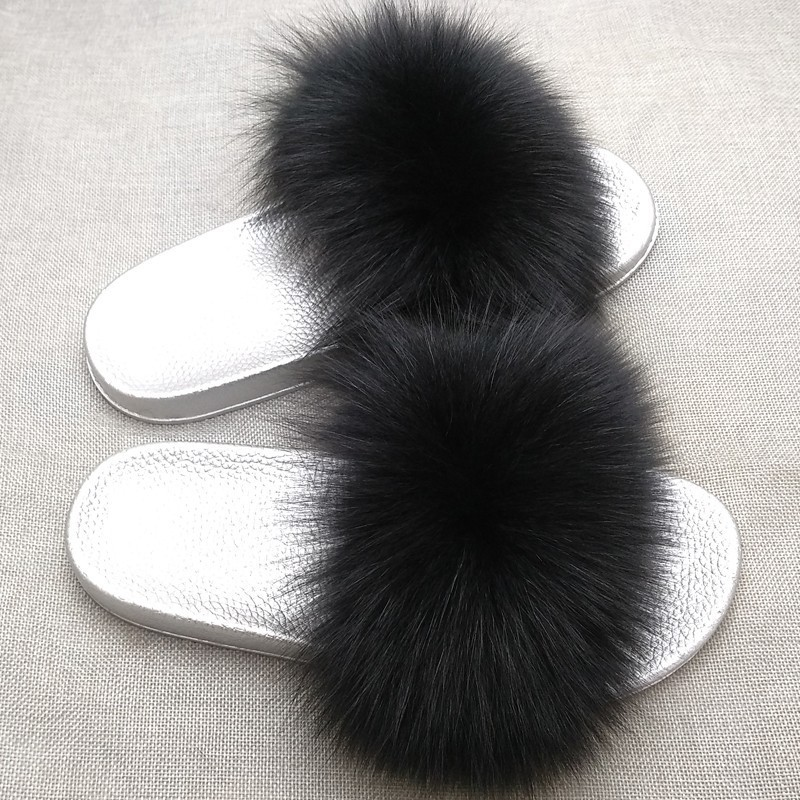 Fur Slippers Women Fox Furry Slides Fluffy Slippers Home Summer Shoes Woman Fur Flip Flops For Ladies Luxury Brand Size 39-41 3