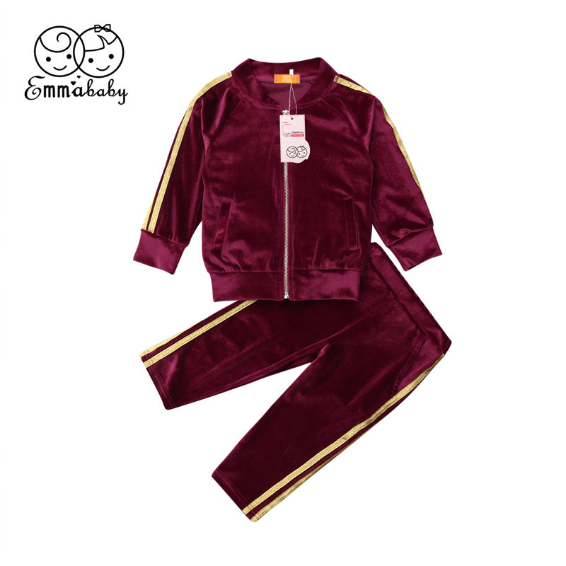 2019 Toddler Baby Girl Clothes Set Kid Velvet Outfit Zipper Top Long Pants Tracksuit Sportswear Summer Children Clothing Set