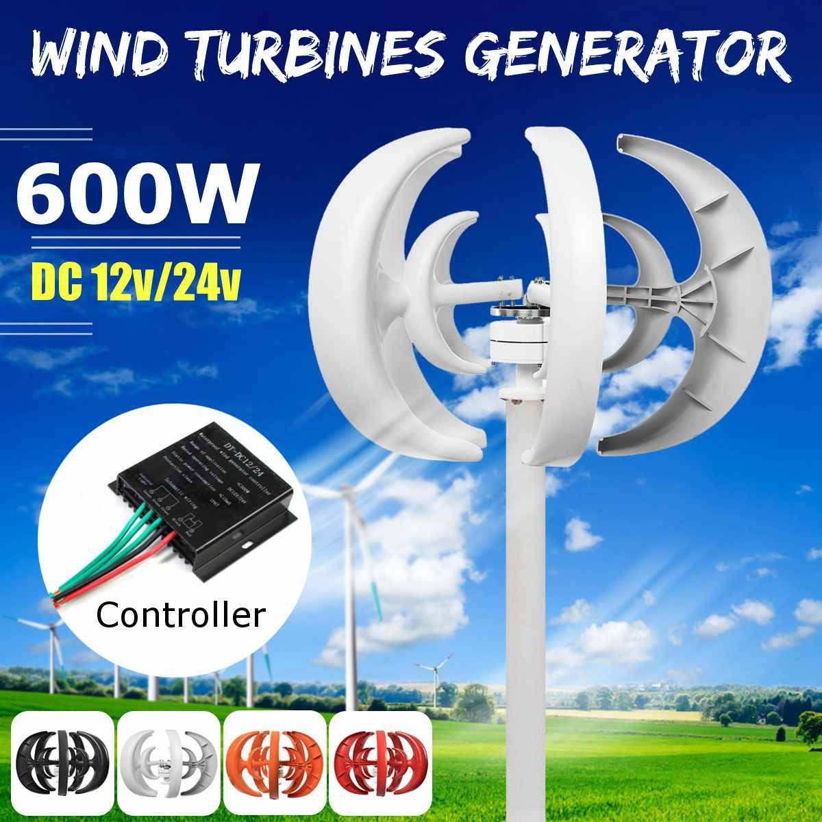 600 W 12/24 V 5 Lames Lanterne Vent urbine Générateur axe vertical Kit + régulateur de charge Pour Résidentiel Hybride l'utilisation de lampadaire