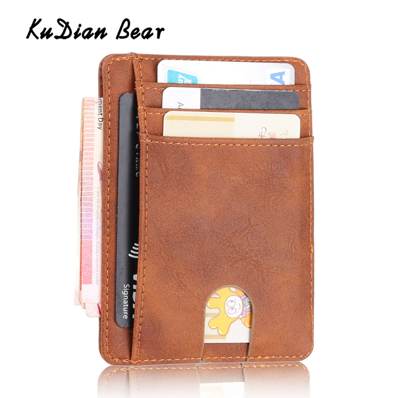 KUDIAN BEAR Rfid PU Leather Men Wallet Vintage Credit Card Holder Business Brand Male Wallets Purse Billetera Hombre BID251 PM49