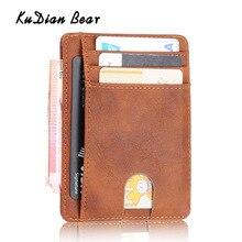 KUDIAN BEAR Rfid PU Leather Men Wallet Vintage Credit Card H