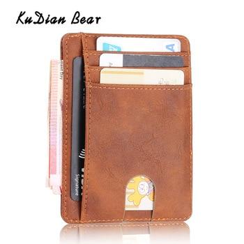 nuevo producto 7dc59 4d8de KUDIAN BEAR Rfid PU cuero hombres billetera Vintage tarjeta ...