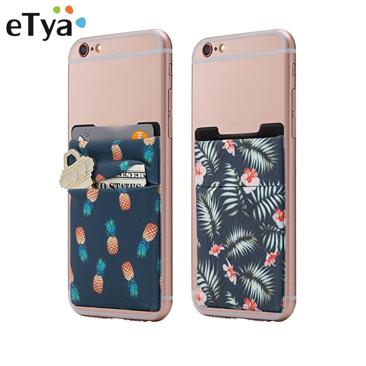 eTya Slim Cell Phone Back Adhesive Sticker Card Case Men Women Business ID Credit Card Holder Wallet Key Bus Card Cover Purse