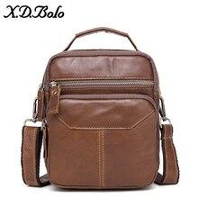 X.D.BOLO Genuine Leather Messenger Bags Mens Shoulder Bag Cowhide Strap Small Male Handbags Casual Crossbody for Men
