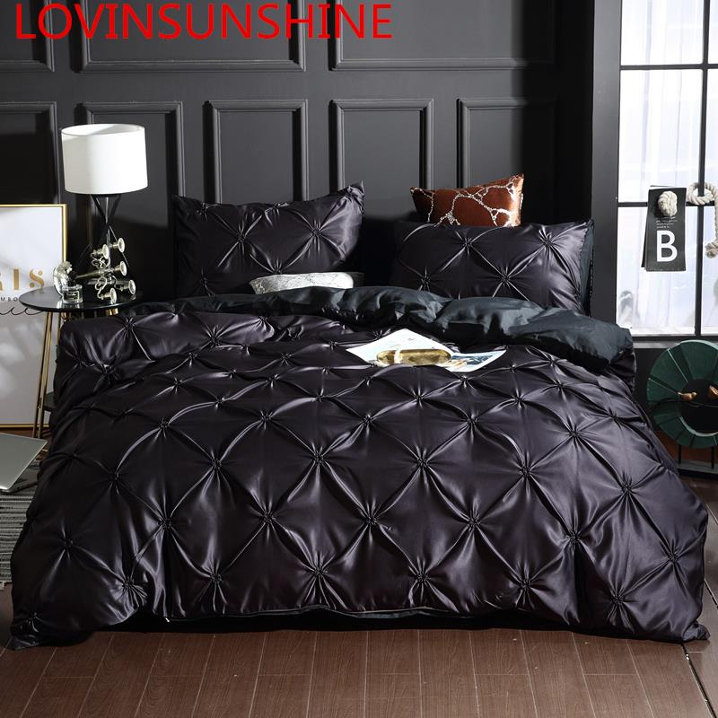LOVINSUNSHINE Luxury Duvet Cover Bedding Set King Size Silk Bed Linen Duvet Cover Set Queen Black AC02#-in Bedding Sets from Home & Garden