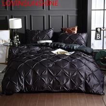 مجموعة أغطية لحاف فاخرة من lovinsun أغطية سرير حريرية مقاس كبير طقم أغطية لحاف سرير كوين أسود AC02 #