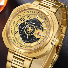 лучшая цена NAVIFORCE Luxury Gold Quartz Watch Men Top Brand Clock Male Business Waterproof Wristwatch Mens Automatic Date Relogio Masculino