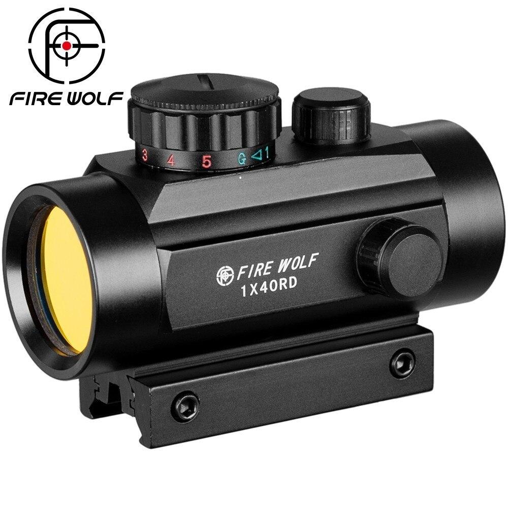 1x40 Riflescopes Caça Tático Holográfica Red Dot Ponto Verde 11mm/20 milímetros Monte Mira Óptica Rifle Arma âmbito Arma de Airsoft
