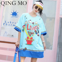 QING MO Pink White Blue Women Summer Holes Long T Shirt Women Print T Shirt Women Loose Sequin T Shirt 2019 ZQY476