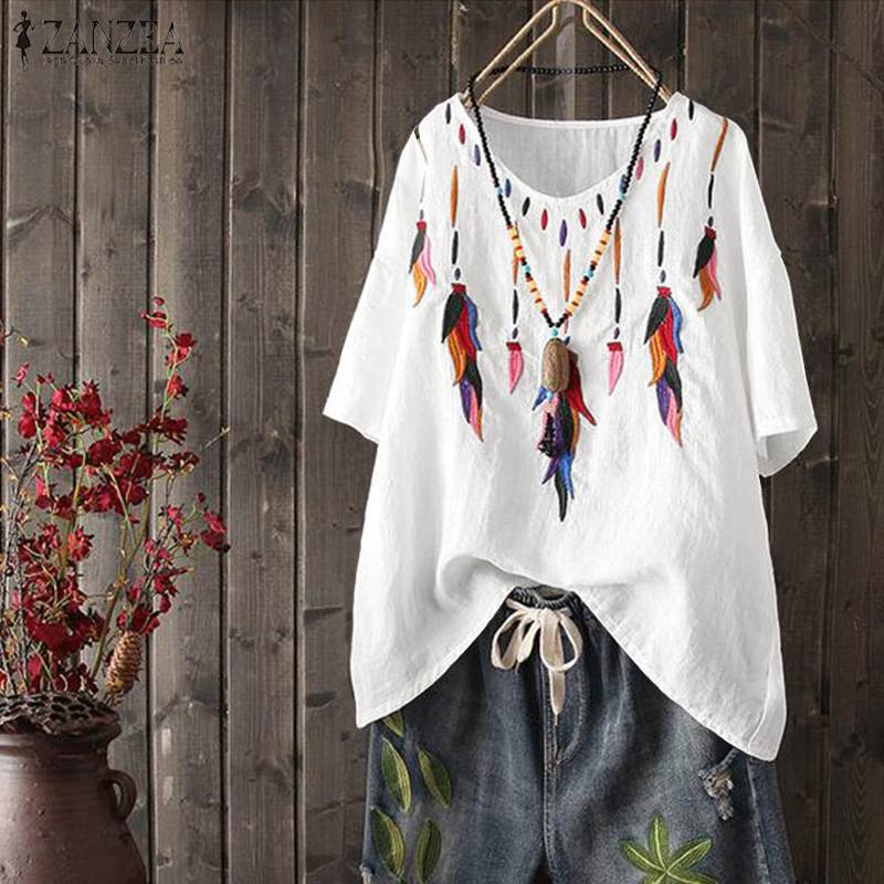 2020 Summer  Embroidery Blouse ZANZEA Women V Neck Shirts Casual Short Sleeve Cotton Linen Tops Loose Blusas Party Tunic